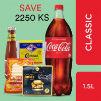 Coca-Cola and Burger (Coca-Cola Classic 1.5Litre, Burger Box Chicken Burger Patty Meat 4pcs,Cowhead Processed Cheddar Cheese Contains Calcium 250g,CP Chicken Sausage 250g,Origano Tomato Sauce 300cc)