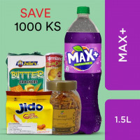 Max+ Grape and Snacks (Max+ Grape 1.5Litre, Farmland Potato Chip Cheese 160g, Myint Fried Jue Potato-Peanut-Soyabean-Mock Meat Spicy 180g, Jido Cream Egg Cookies 90g, Julie's Butter Crackers 200g)