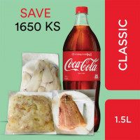 Coca-Cola and Tempura Fried Seafood (Coca-Cola Classic 1.5Litre,Waves & Waves Frozen Squid Body 250g,Waves & Waves Frozen Peeled & Deveined Sea Pink Prawn 250g,Waves & Waves Frozen Butterfish Skinless Fillet 400g)
