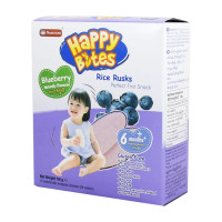 Happy Bites Rice Rusks Blueberry 50g